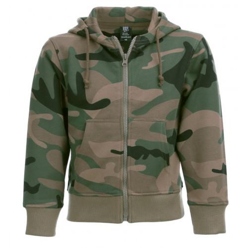 Børne hættetrøje Woodland camouflage