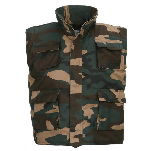 Børnevest foret Woodland camouflage