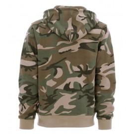 Hoodie med lynlås Woodland camouflage